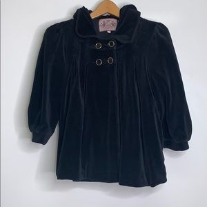JUICY COUTURE • Velour Hooded Cape Black Sweater